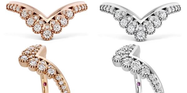 BEHATI SILHOUETTE戒指 白K金/玫瑰金款式、钻石、粉红蓝宝石