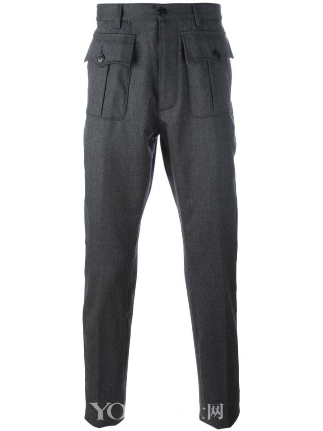 Dsquared2 灰色 弹性初剪羊毛 正面盖袋长裤,$431。
