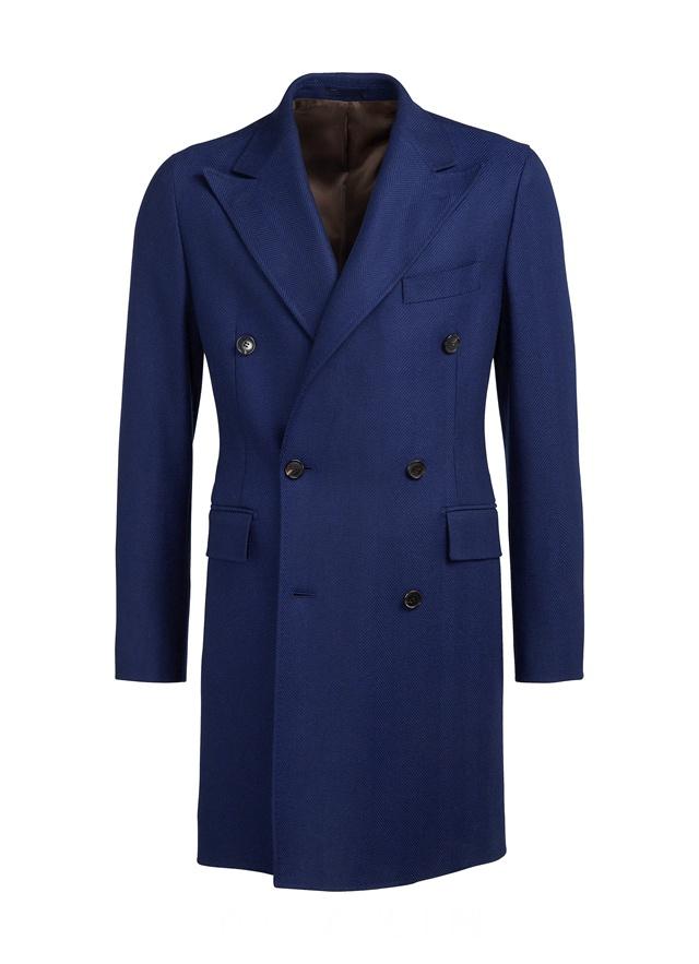 suitsupply蓝色羊毛羊绒混纺双排扣外套,¥5,980 CNY